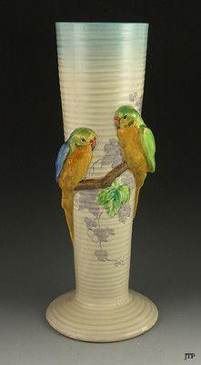 Clarice Cliff 1930s Large Parrot Ceramic Vase