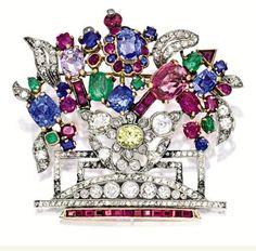 Ruby, Sapphire, Emerald & Diamond Floral Brooch (circa 1890) [<$5,000]