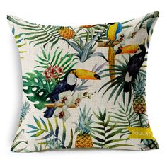 Hand painted Tropical Flower Leaves Tree Linen Cushion Cover Flowers Floral Pillow Covers For Sofa Chair Housse De Coussin BZT 9-in Cushion Cover from Home, Kitchen & Garden on Aliexpress.com | Alibaba Group