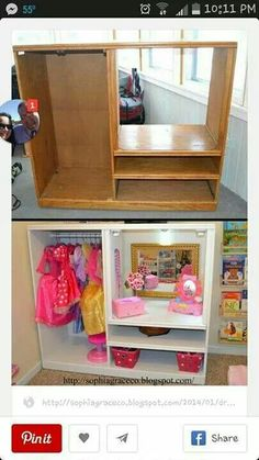 Sophia Grace & Co. - Dress up station for kids playroom. Cute way to store dress up clothes. Easy dress up storage Project to DIY. Dress Up Stations, Dress Up Storage, Doll Storage, Toy Rooms, Little Girl Rooms, Repurposed Furniture, Diy Childrens Furniture, Children Furniture, Furniture Makeover