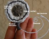 Crochet Jewelry Cochlear Implant (she says its external part but its the internal part)