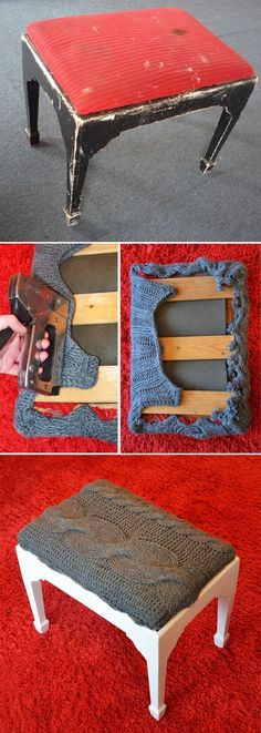Ellomennopee: #DIY: #upcycling a# footstool //cool idea for recovering. You can use your favorite old sweater or a T-shirt, lots of options, just turn your imagination on and look around) //