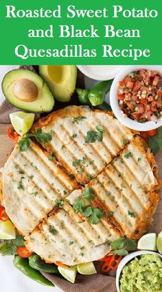 Roasted Sweet Potato and Black Bean Quesadillas Recipe By Chris from Don't Go Bacon My Heart. This recipe is incredibly delicious nd most importantly incredibly easy to make. This is the best vegetarian quesadillas you'll ever taste! Fun Easy Recipes, Popular Recipes, New Recipes, Crockpot Recipes, Vegetarian Recipes, Easy Meals, Cooking Recipes, Healthy Recipes, Yummy Recipes