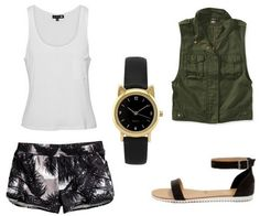 Printed pants, white shirt, black sandals, watch, utility jacket