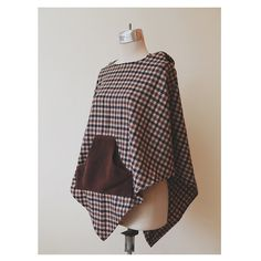 Houndstooth Poncho Hoodie  Brown and Blue Poncho  by Ragavon