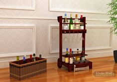 Buy wooden bar trolleys & serving trolley online @ upto OFF from WoodenStreet. Choose home bar trolley from wide range of collections. Shop bar cart online get Extra OFF. Bar Trolley, Serving Trolley, Bar Cart, Bar Furniture, Dining Room Furniture, Wooden Street, Modern Bar, Bar Areas, Cabinet