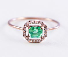 Emerald Ring Micropave Ring Diamond Ring Gold by Tulajewelry Emerald Ring Gold, Gold Diamond Rings, Diamond Gemstone, Gold Rings, Gemstone Rings, Emerald Cut, Ruby Rings, Everyday Rings, Schmuck Design