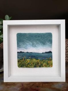 Needle Felted Paper Boat Sunset Picture In Box Frame