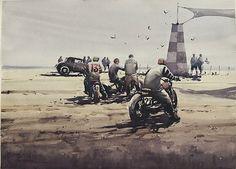 Ready To Race by Daniel Marshall Watercolor ~ 22 x 30 Motorcycle Art, Bike Art, David Mann Art, Cafe Racer Bikes, Bobber Bikes, Harley Davidson Art, Cult, Street Art Graffiti, Cool Drawings