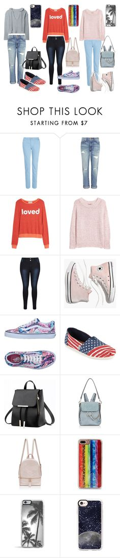 """""""Teen Styles #5"""" by kw82 ❤ liked on Polyvore featuring dVb Victoria Beckham, Current/Elliott, Dream Scene, H&M, Madewell, Vans, TOMS, Chloé, Edie Parker and Casetify"""