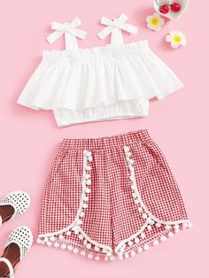 To find out about the Girls Tie Strap Ruffle Top & Pompom Shorts Set at SHEIN, part of our latest Girls Two-piece Outfits ready to shop online today! Teenage Girl Outfits, Teen Fashion Outfits, Kids Outfits Girls, Teenager Outfits, Mode Outfits, Cute Fashion, Girl Fashion, Lolita Fashion, Fashion Dresses