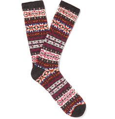 Fair Isle knitting gained popularity when HRH King Edward VIII - later to take the title of the Duke of Windsor - wore the style in the '20s. Utilising premium materials sourced in Japan, <a href='http://www.mrporter.com/mens/Designers/Anonymous_Ism'>Anonymous Ism</a> creates socks with a superlative eye for detail. This comfortable and absorbent cotton-blend pair is ideal for giving off-duty outfits a rustic twist.