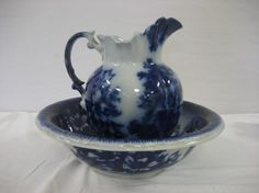 Flow Blue Wash Bowl And Pitcher.