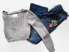 MUDD Distressed Jeans & Justice Crop Sweater Sz 10-12 Girls #MUDD #Justice #jeans #LYLACS_4U #jeansgiveusLIFE #freeshipping #OnTrend