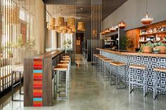 Rope Screen | Room Divider | Mexican Decor | Commercial Design | Bar Ideas | Stool Seating | Restaurant Interior