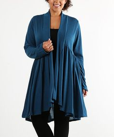 Love this Teal Drape Open Cardigan - Plus on #zulily! #zulilyfinds