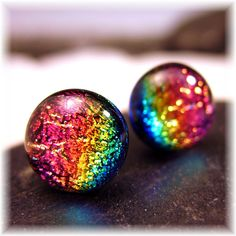 Sparkling Dichroic Cha Cha Rainbow Dichroic Fused Glass Post, Stud Earrings.