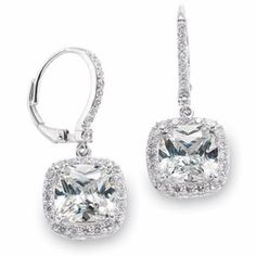 Talia - Stunning elegant princess cut CZ earrings - SPECIAL