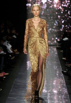 Naeem Kahn- beautiful gold lace gown