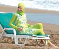 Muslim Swimwear (Burkini): Before and still women are using the traditional Abaya as swimwear or they simply avoid swimming. Now the Muslim Muslim Fashion, Fashion Wear, Hijab Fashion, Beach Fashion, Fasion, Muslim Swimwear, Middle Eastern Fashion, Modest Swimsuits, Swimsuit Cover