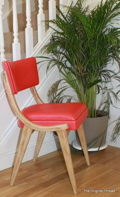 Benchair with red leatherette - mid century chair