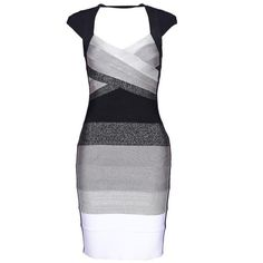 Ombre Open-Back Bandage Dress H113W2 (565 VEF) ❤ liked on Polyvore featuring dresses, black and white, v neck dress, bodycon party dresses, black and white dress, short sleeve bodycon dress and black and white party dresses