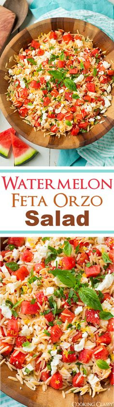 Watermelon Feta Orzo Salad with Lemon and Basil - this is one of my FAVORITE summer salads! So refreshing!