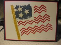 "By Jan Ferring. Patriotic card using Stampin' Up ""Work of Art"" stamp set."