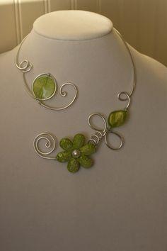 GREEN JEWELRY - GREEN OPEN NECKLACE - WEDDING JEWELRY | LesBijouxLibellule - Jewelry on ArtFire