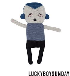 Little Peppe is from the Lucky Boy Sunday's Secret Friends collection. Copenhagen designed and hand knitted by Bolivian artisans with pure baby alpaca.