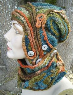 Into the Woods Wrap freeform crochet hat OOAK por girlwithahook
