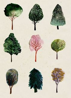 Stylized nature in water color form.