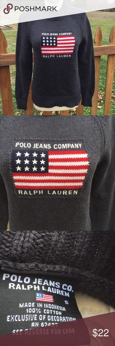 Polo Jeans Ralph Lauren Flag Sweater Size Small Size small. Gently preowned. Be sure to view the other items in our closet. We offer both women's and Mens items in a variety of sizes. Bundle and save!! Thank you for viewing our item!! Ralph Lauren Sweaters