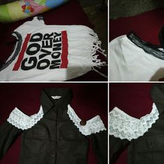 Tried DIY refashioning. Tee-shirt to dress and formal long sleeves to off shoulder girly blouse. Yay!