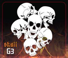CAS Professional Airbrush Stencil - Skull Group 3 - 'Multi-Angle Skulls'