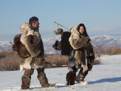 "National Geographic presents ""The Great Human Race"" Bill and Cat attempt to survive as mobile hunters living in Siberia during the peak of the Ice Age."