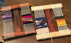 Small pieces on Hokett looms, Colorado 2017 retreat Weaving Tools, Weaving Projects, Weaving Art, Weaving Patterns, Loom Weaving, Tapestry Weaving, Hand Weaving, Art Projects, Small Tapestry