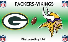 1961, National Football League (1st PACKERS-VIKINGS), Green Bay Packers < > Minnesota Vikings #Packers #Vikings #NFL (L24342) Vikings Packers, Nfl Packers, Minnesota Vikings, Football Rivalries, Sports Logos, National Football League, Green Bay Packers, Logo Design, National Soccer League