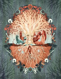 Gorgeous illustration of Bran in the heart tree's roots, by Anne Lambelet.