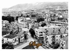 Restored black and white photo of the old city of Skopje, Macedonia, (circa 1930's). Skopje is the birthplace of Mother Teresa in 1910. The city as shown in this photograph was destroyed in an earthquake in 1963. #Urban #Photography