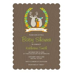 Sweet modern whimsical woodland themed boy baby shower invitation. Design features a trendy deer family silhouette illustration with a heart and floral wreath plus a flag banner with space to add the new baby's name monogram and a wood grain patterned background. Add your baby shower party details below. An adorable unique rustic baby shower invite! Click the CUSTOMIZE IT button to customize fonts and colors to create a one of a kind personalized design.
