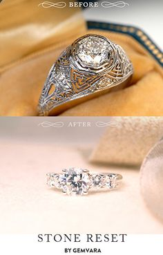 Bring new sparkle to old pieces with Stone Reset by Gemvara. Whether you want to modernize your stone with a clean new setting or add extra glitz with a halo of gems - let it shine, your way.