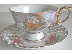 Fancy Shafford Lace Edge Footed Courting Couple Cup and Saucer