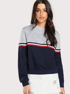 Striped Woven Tape Detail Two Tone Sweatshirt
