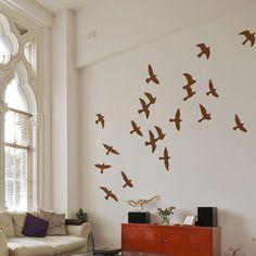 The Binary Box Flock of Birds Wall Sticker, Light Brown