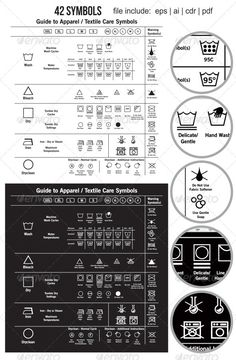 42 Textile Care Label Symbols — Vector EPS #isolated #icon • Available here → https://graphicriver.net/item/42-textile-care-label-symbols/2626224?ref=pxcr