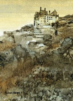 Michael Morgan RI Limited Edition Prints, Marine House and Steam Gallery - Marine House at Beer Watercolor Scenery, Watercolor Paintings Abstract, Watercolor Landscape, Abstract Landscape, Landscape Paintings, Watercolor Bird, Watercolor Portraits, Abstract Art, Michael Morgan