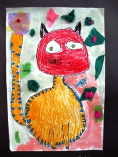 Get your oil pastels ready because this is a really great lesson you can adapt for any subject matter. The kids voted on cats but you can do dogs, fish, butterflies, etc. We looked at several cat p…