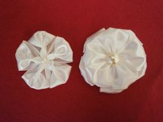 DIY fabric flower tutorial, how to,ONE WAY-TWO FLOWERS, ribbon (+playlist)