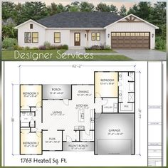 House Plans One Story, Cottage House Plans, New House Plans, Small House Plans, Cottage Homes, Family House Plans, One Story Houses, Retirement House Plans, Sims House Plans